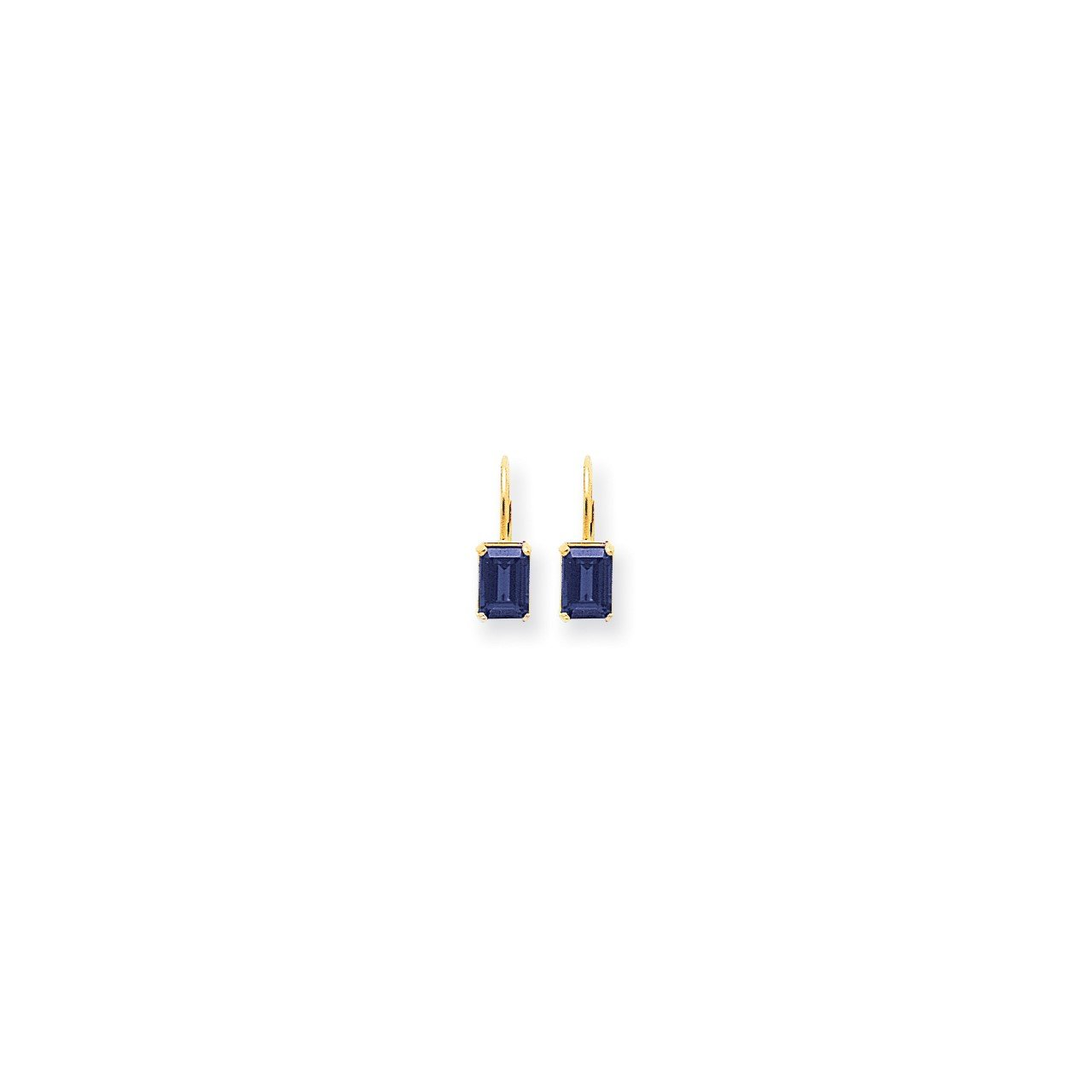 14k 7x5mm Emerald Cut Sapphire earring