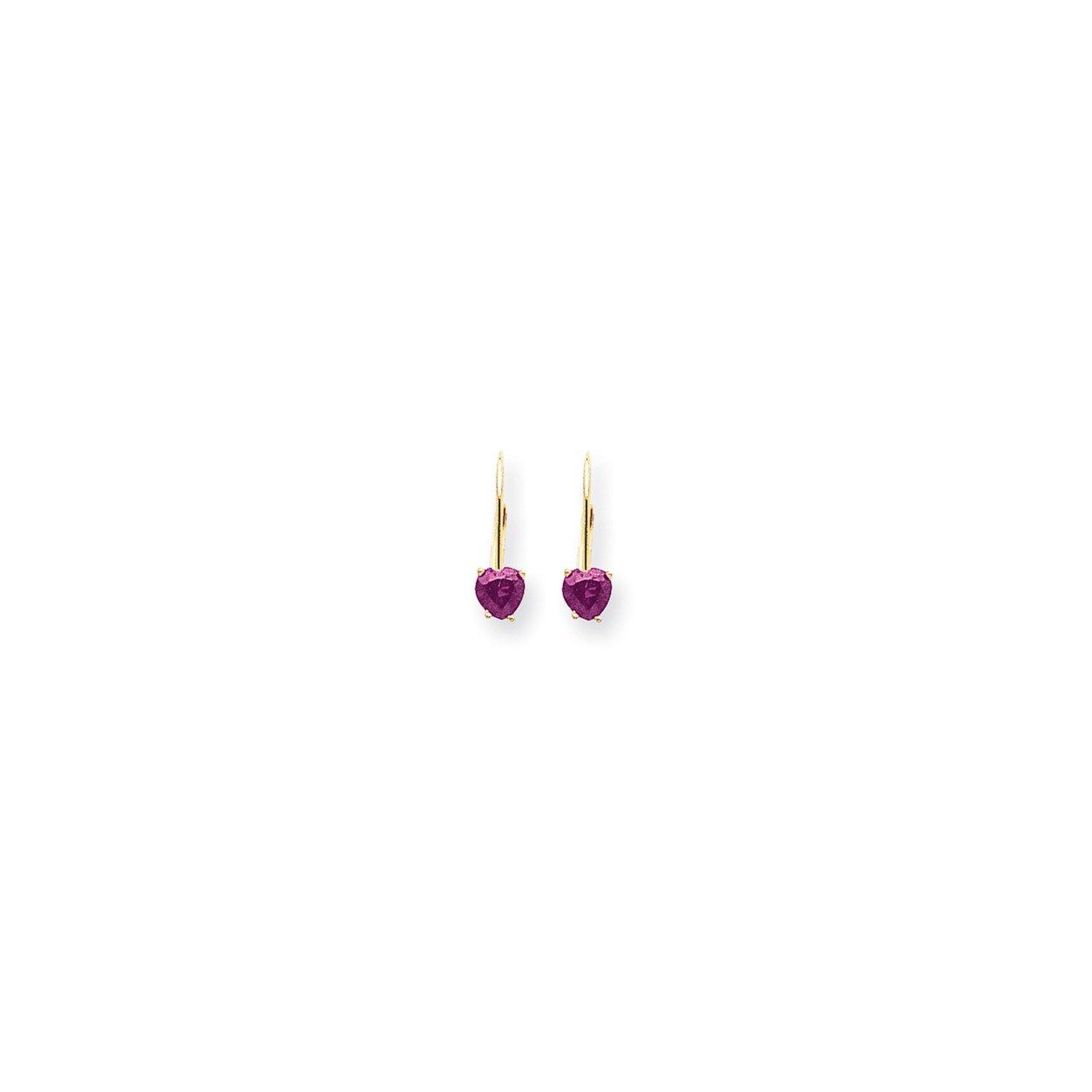 14k 5mm Heart Pink Sapphire earring