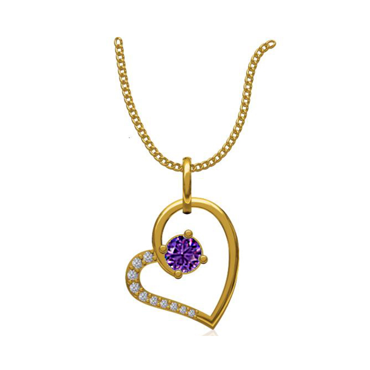 14k Yellow Gold 0.131 Ct. Diamond Pendant Gold Heart Shape Diamond Pendants Gift for Girls Girlfriends Women Length 15 /13 mm-2