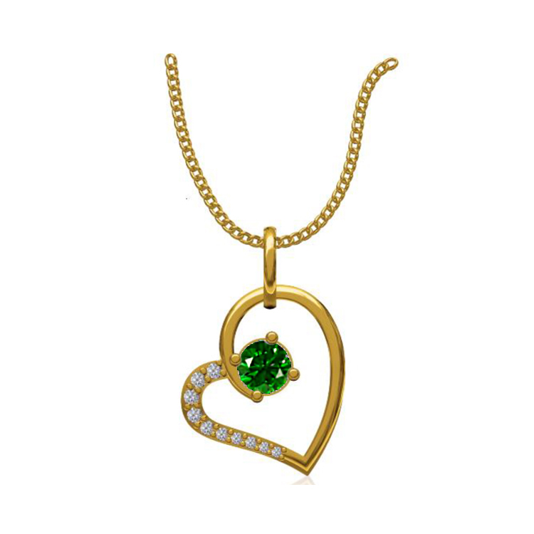 14k Yellow Gold 0.131 Ct. Diamond Pendant Gold Heart Shape Diamond Pendants Gift for Girls Girlfriends Women Length 15 /13 mm-1