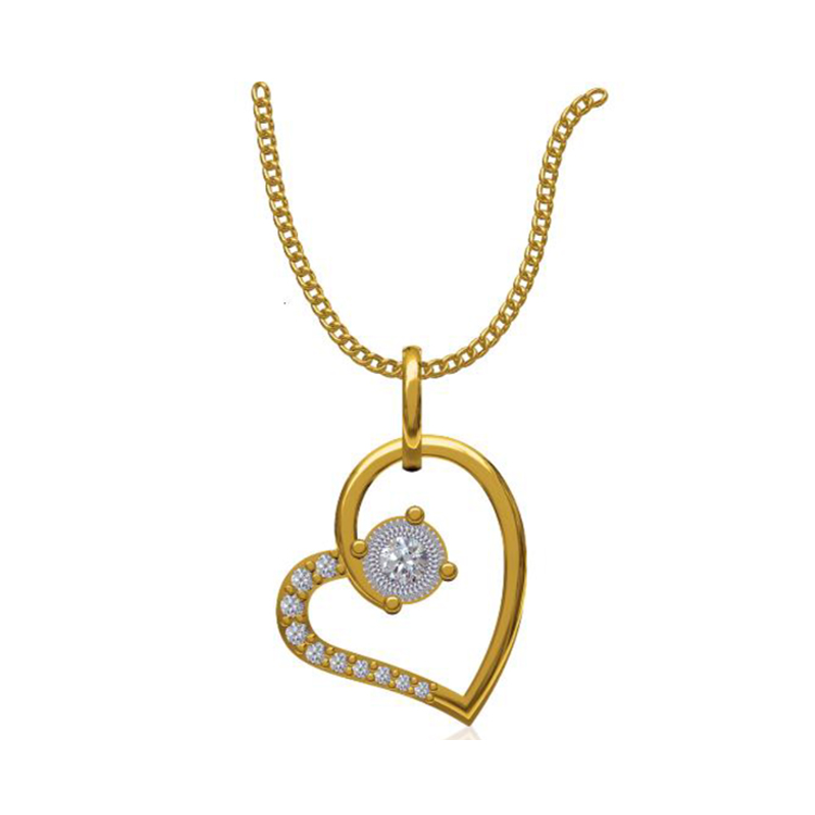 14k Yellow Gold 0.131 Ct. Diamond Pendant Gold Heart Shape Diamond Pendants Gift for Girls Girlfriends Women Length 15 /13 mm-7