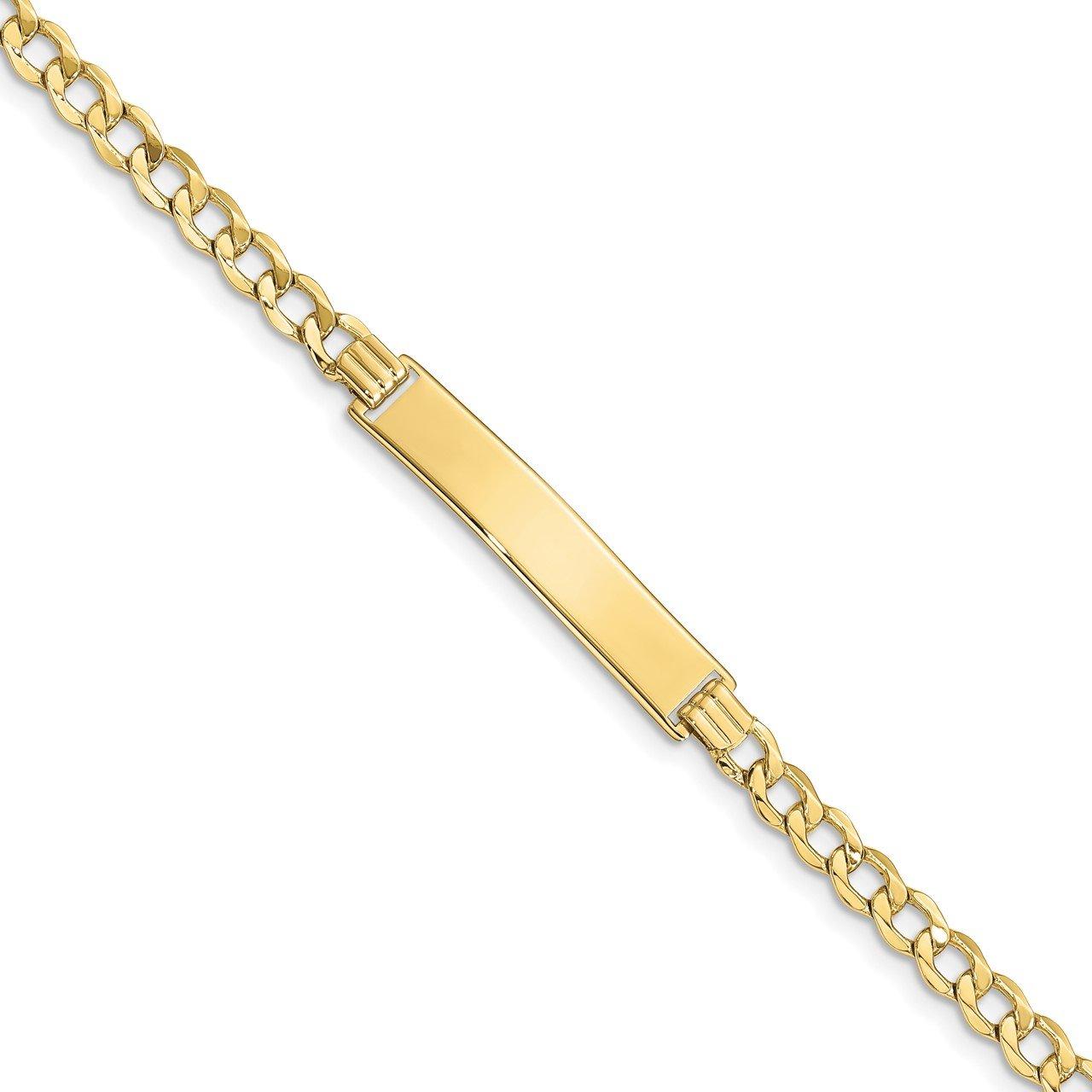 10k Semi-solid Curb Link ID Bracelet