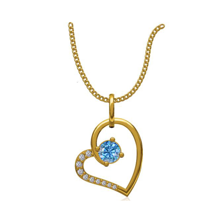 14k Yellow Gold 0.131 Ct. Diamond Pendant Gold Heart Shape Diamond Pendants Gift for Girls Girlfriends Women Length 15 /13 mm-3