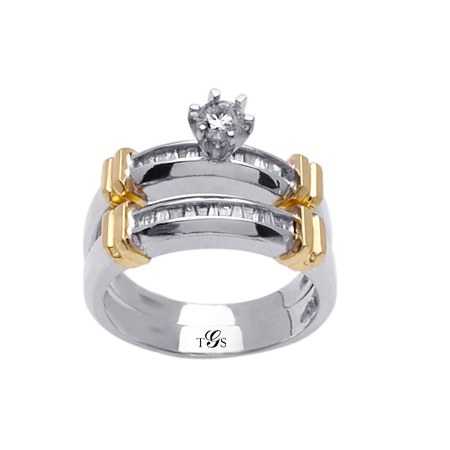 14K Two-Tone Gold Natural diamond Wedding Set (Center Stone Not Included)