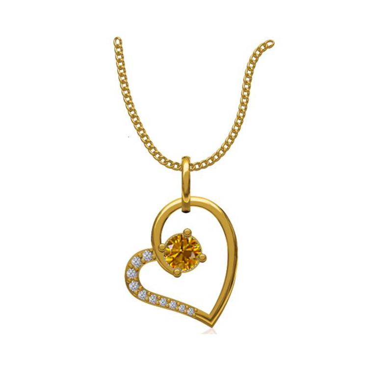 14k Yellow Gold 0.131 Ct. Diamond Pendant Gold Heart Shape Diamond Pendants Gift for Girls Girlfriends Women Length 15 /13 mm-4