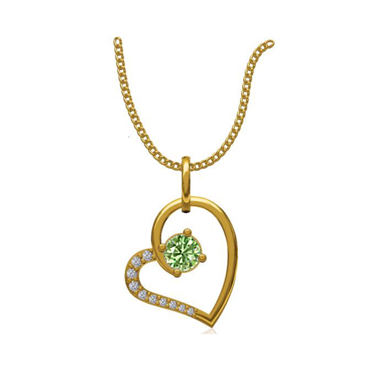 14k Yellow Gold 0.131 Ct. Diamond Pendant Gold Heart Shape Diamond Pendants Gift for Girls Girlfriends Women Length 15 /13 mm-5