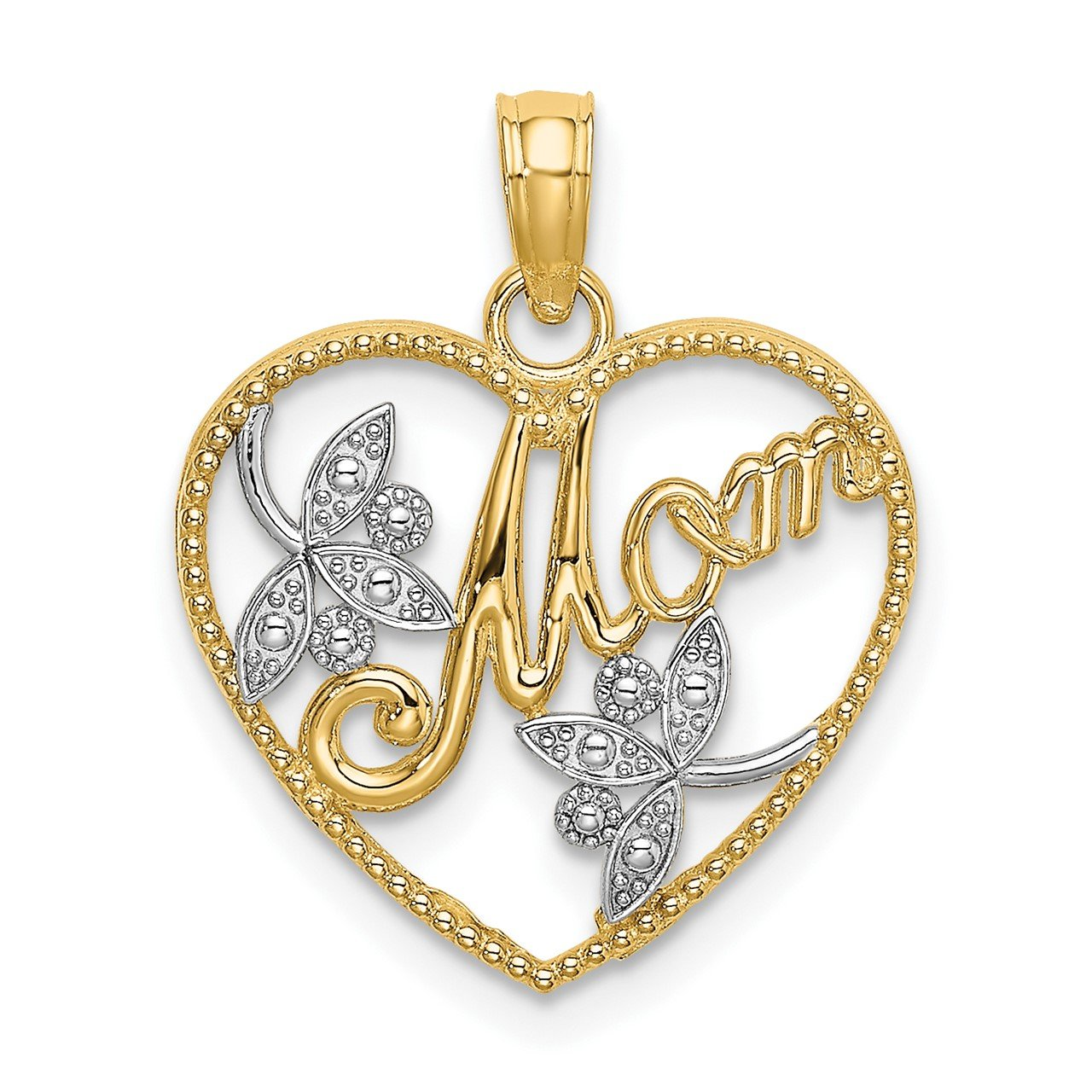 14k with Rhodium Textured Heart with MOM Charm