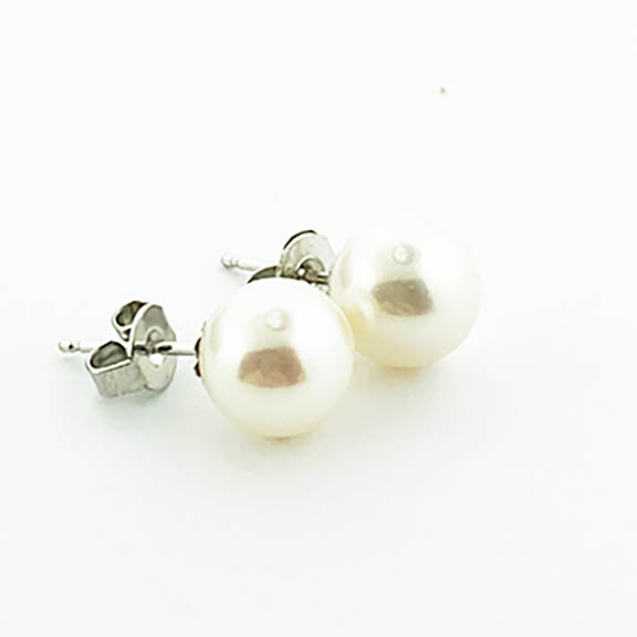 Silver Pearl Stud Earrings