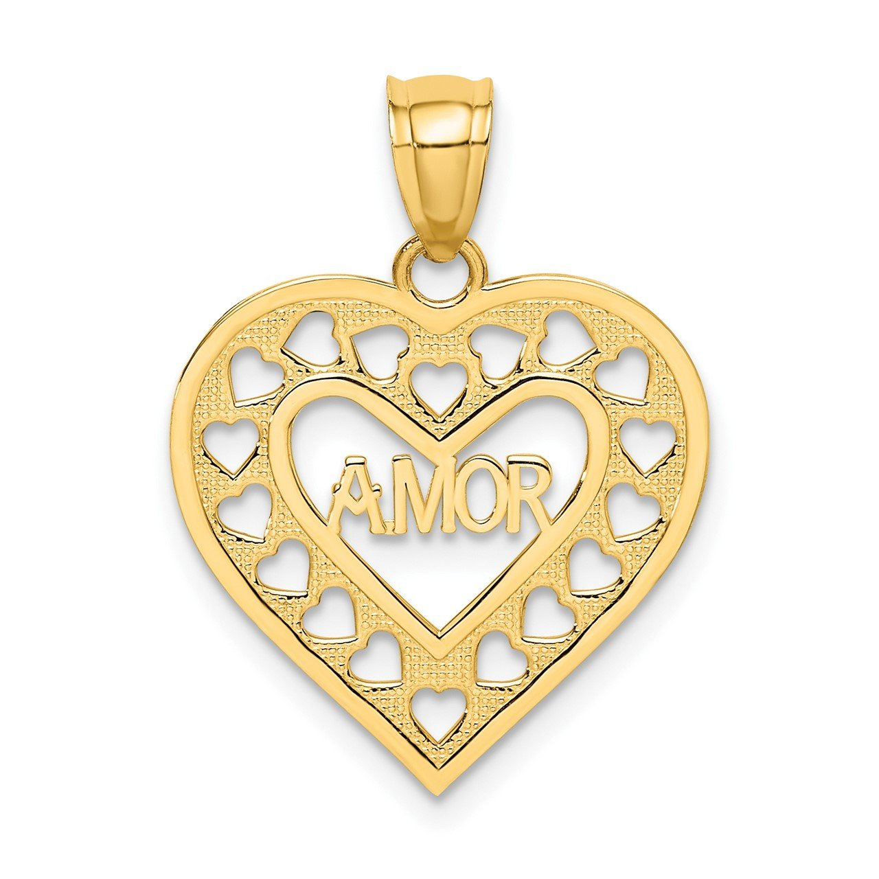 14k AMOR in Cut-out Heart Charm