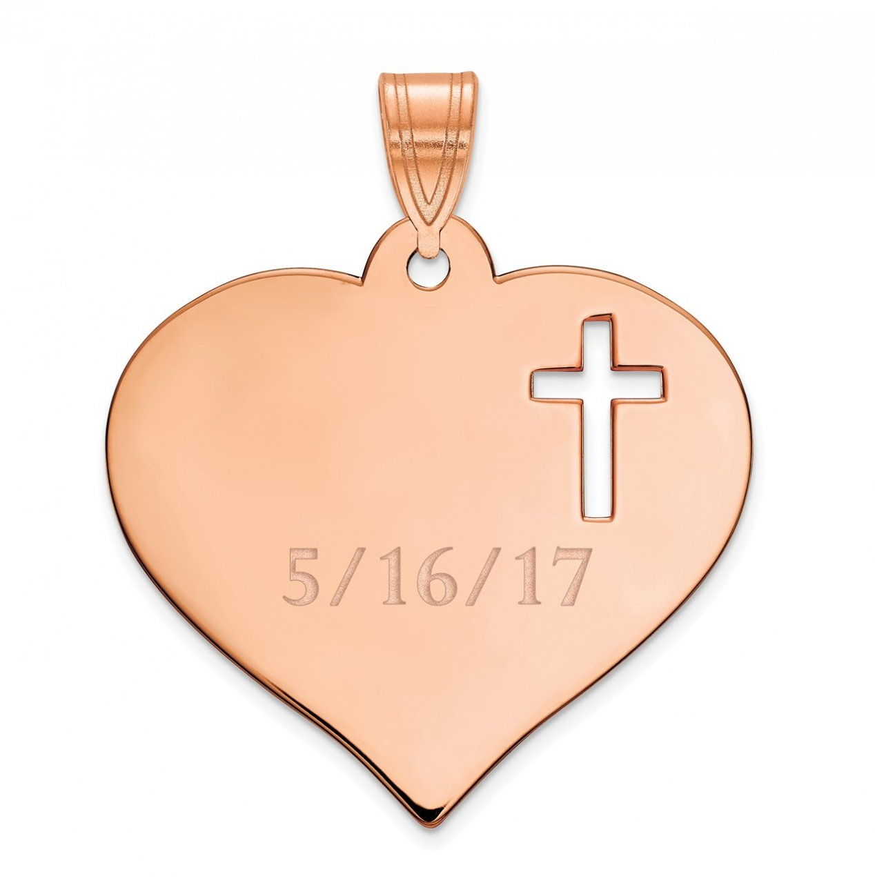 14K Rose Gold Personalized Heart with Cut Out Cross Pendant