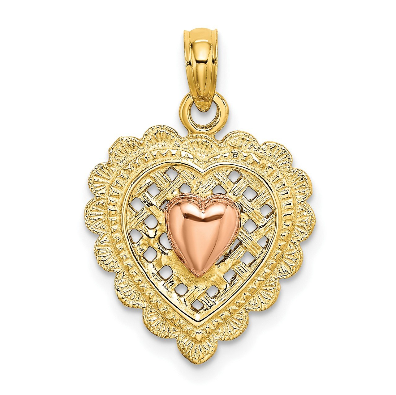 14k Rose and Yellow Gold Polished Heart On Textured Heart Charm