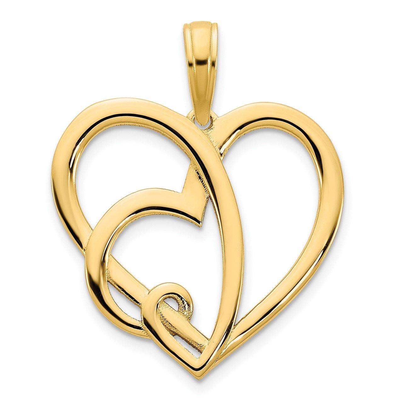 14k Heart in a Heart Pendant