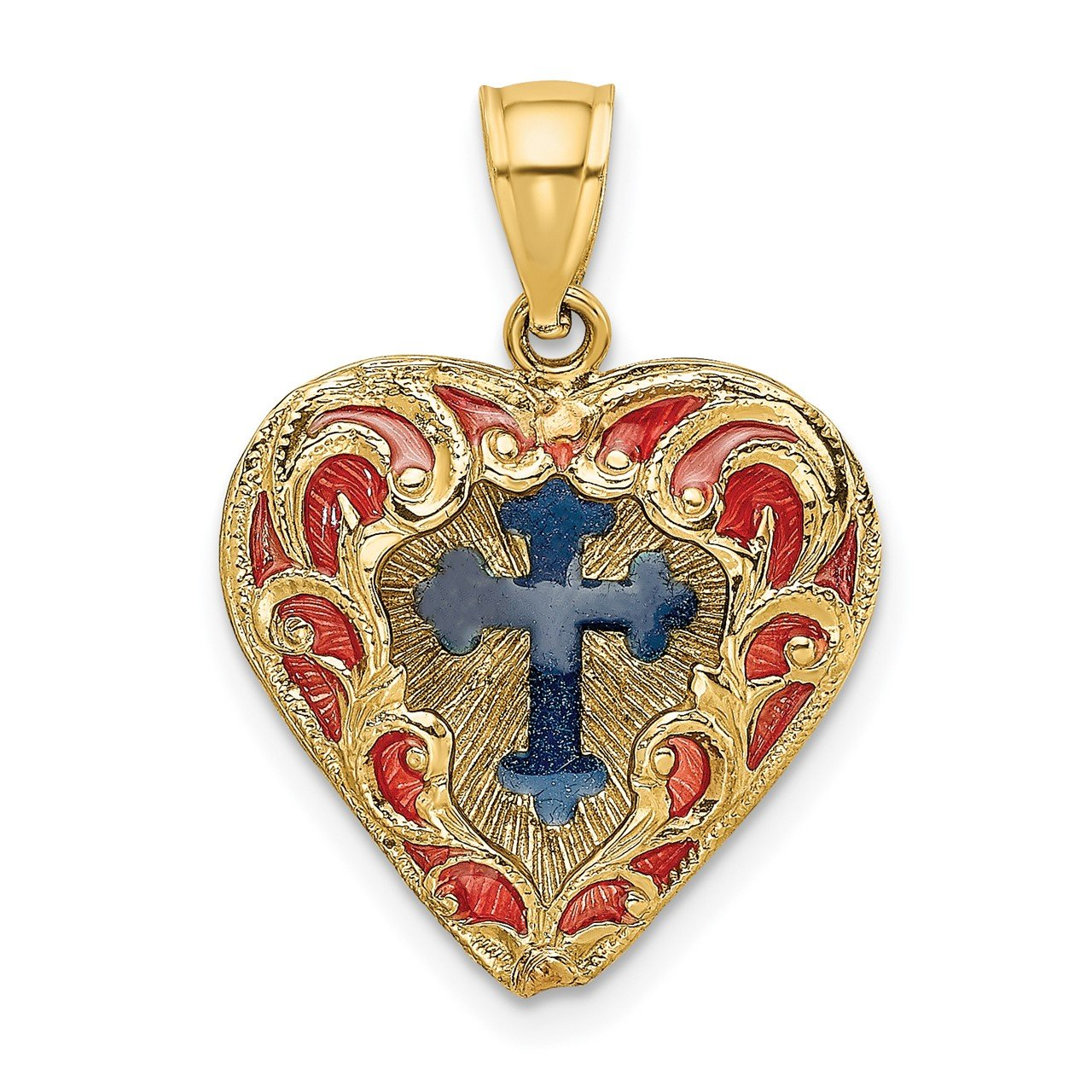 14K Reversible Red and Blue Enameled Cross In Heart Charm