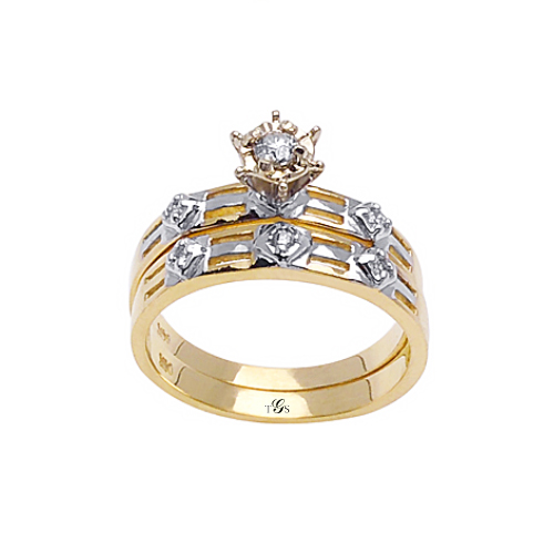 14k Two Tone Gold Natural Diamond Wedding Set (Center Stone Not Included)