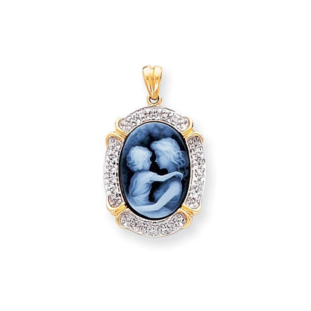 14k Everlasting Love Diamond Agate Cameo