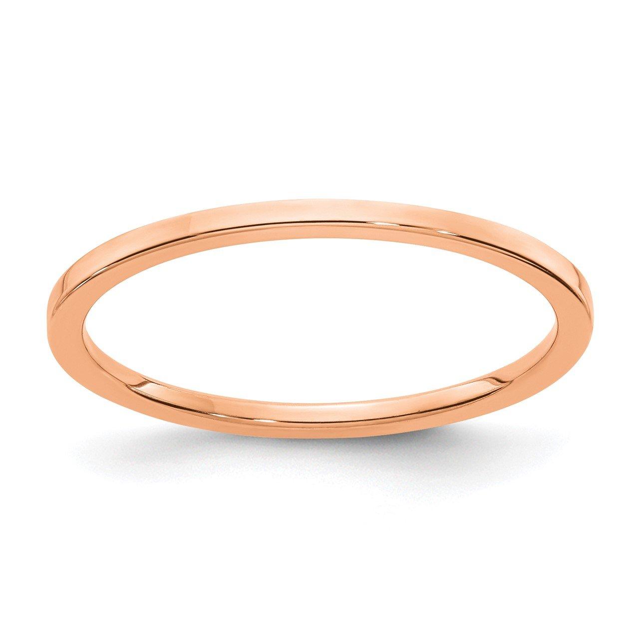 14K Rose Gold 1.2mm Flat Stackable Band