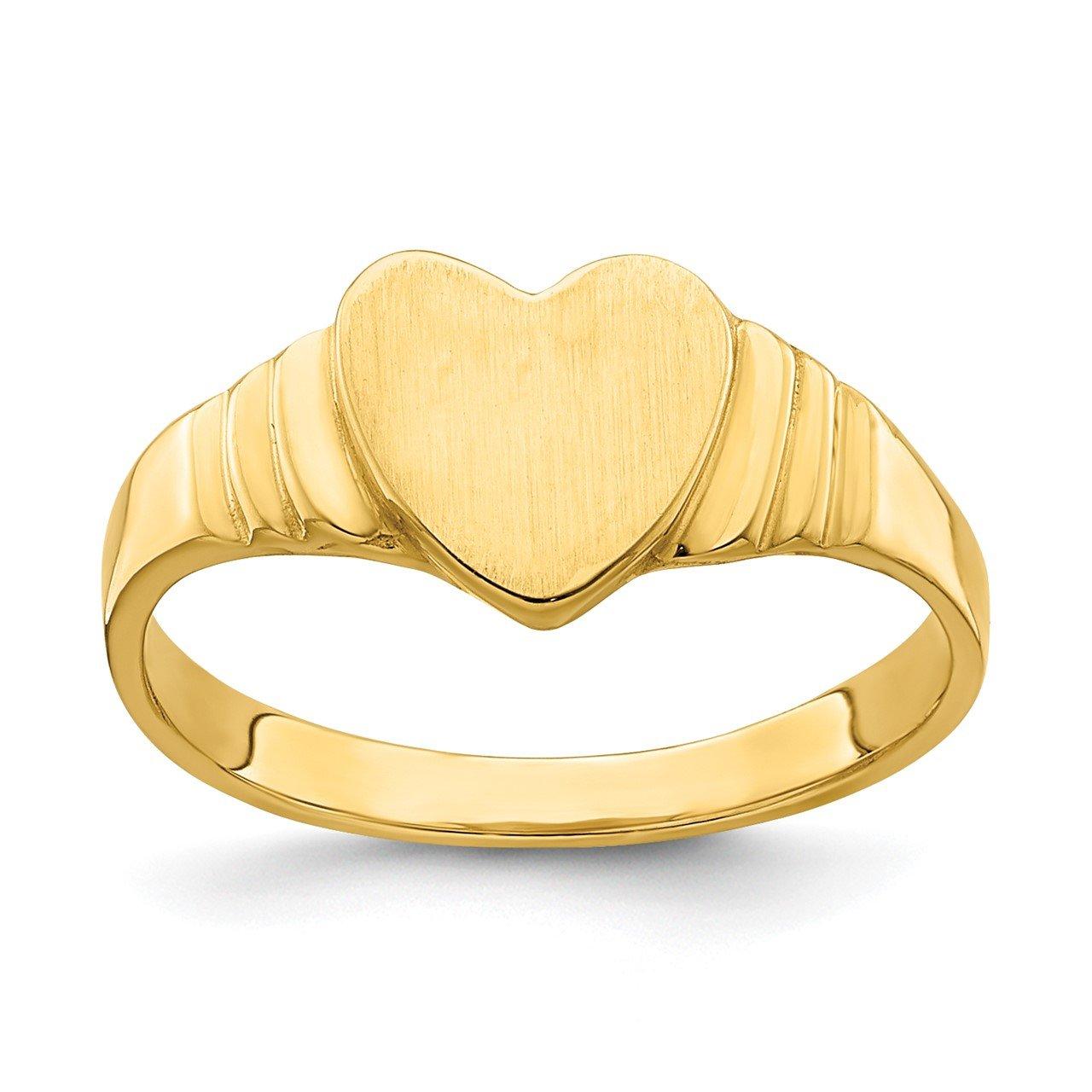 14k Heart Signet Baby Ring
