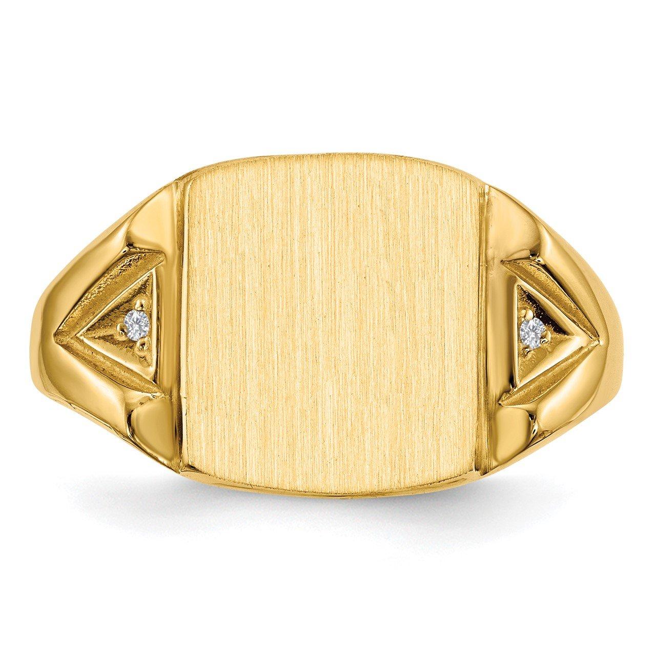 14k 12.0x11.0mm Open Back AA Diamond Men's Signet Ring-3