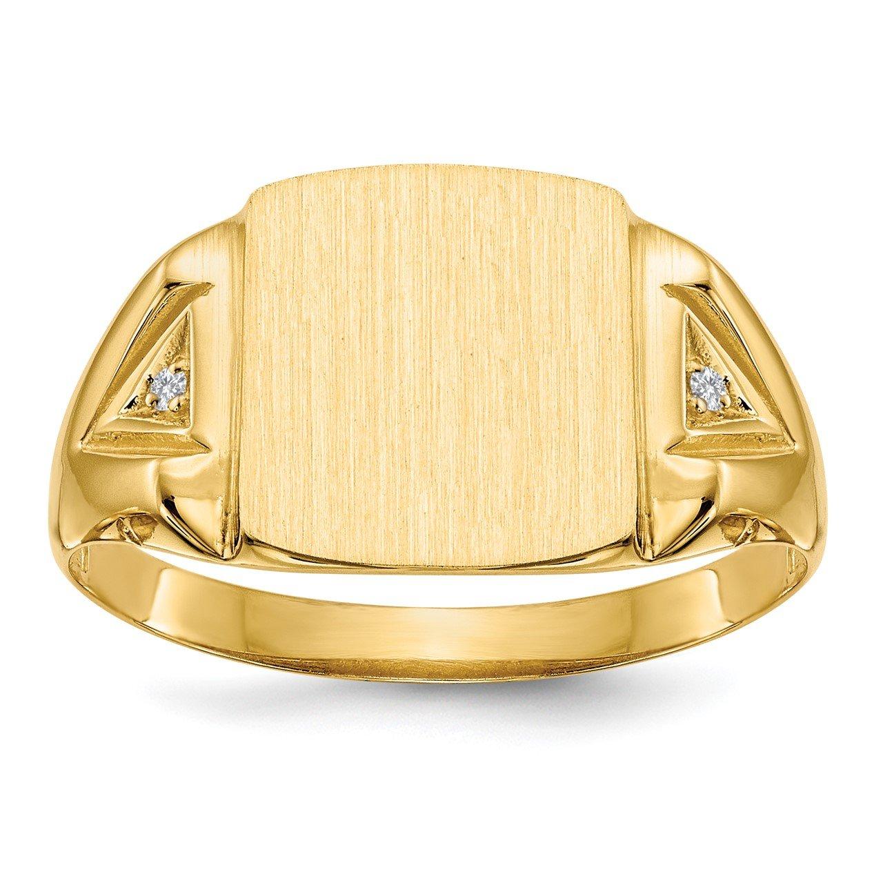 14k 12.0x11.0mm Open Back AA Diamond Men's Signet Ring