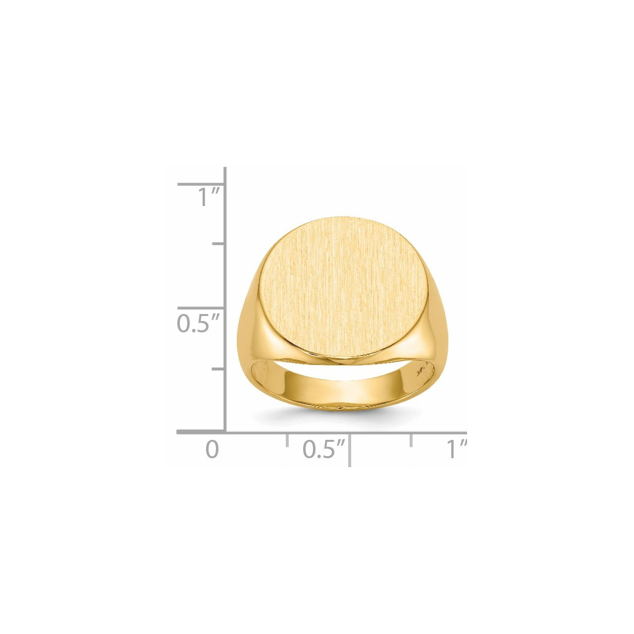 14k 17.5x18.0mm Closed Back Men's Signet Ring-4