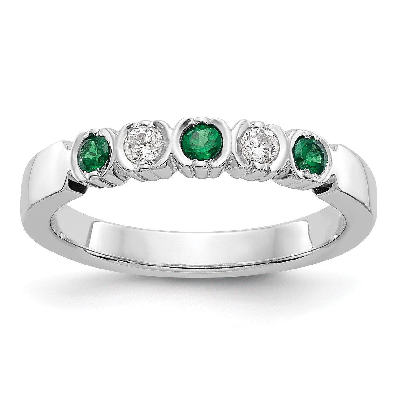 14k White Gold Diamond with Emerald Band