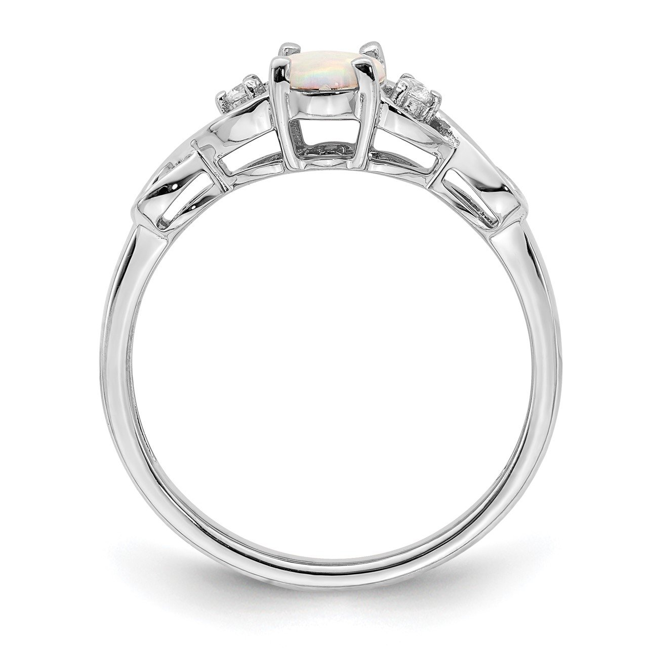 14k White Gold Created Opal and Diamond Ring-1