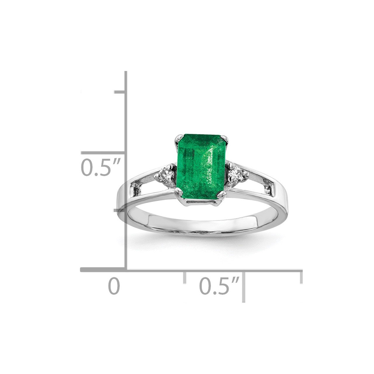14k White Gold 7x5mm Emerald Cut Emerald AA Diamond ring-1