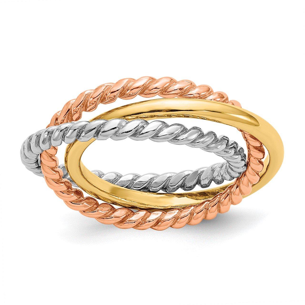 14k Tri-Color Rope Polished 3-band Interlocking Ring