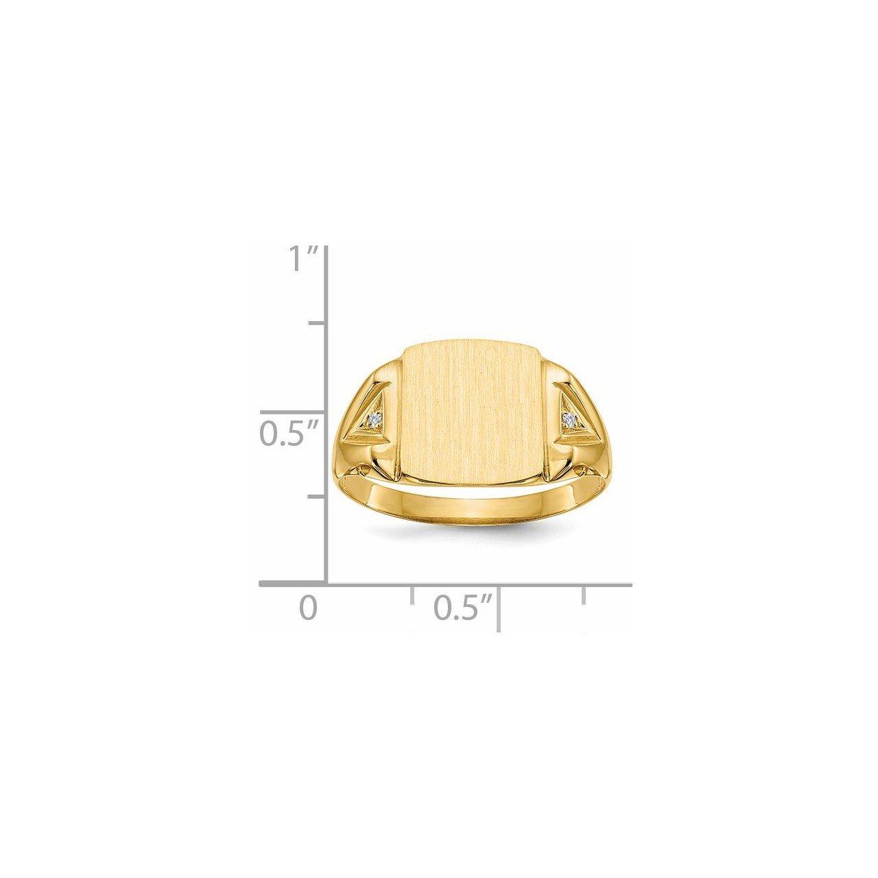 14k 12.0x11.0mm Open Back AA Diamond Men's Signet Ring-4