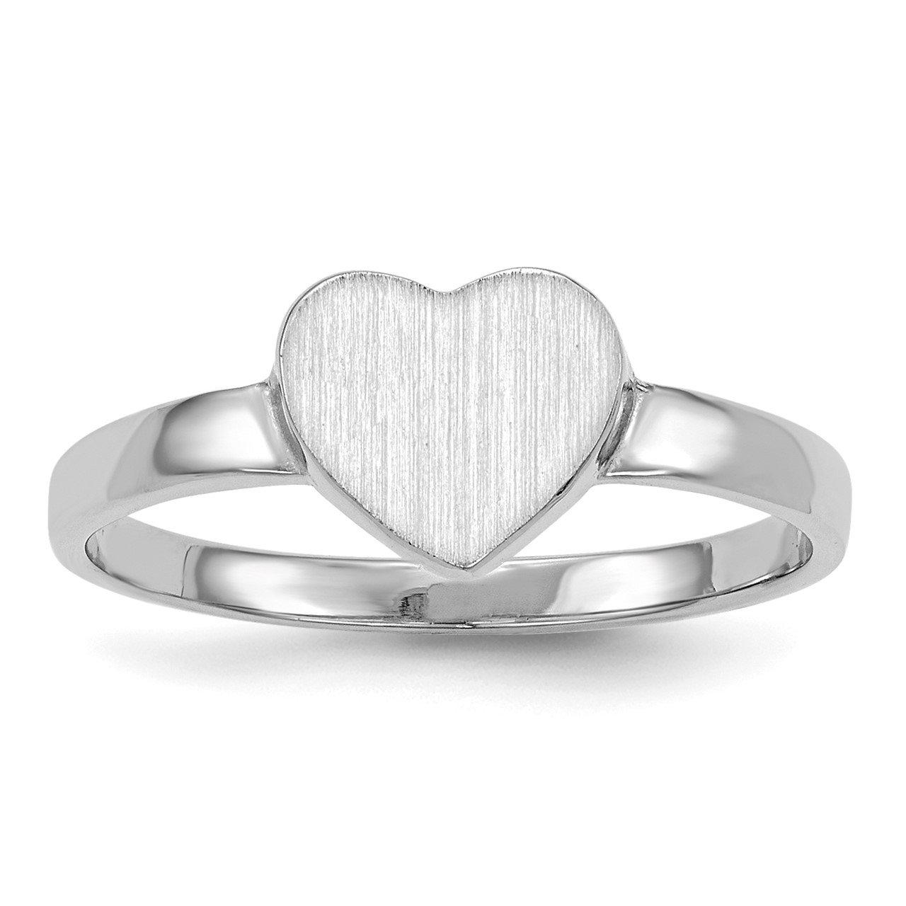14k White Gold 7.0x7.5mm Open Back Heart Signet Ring