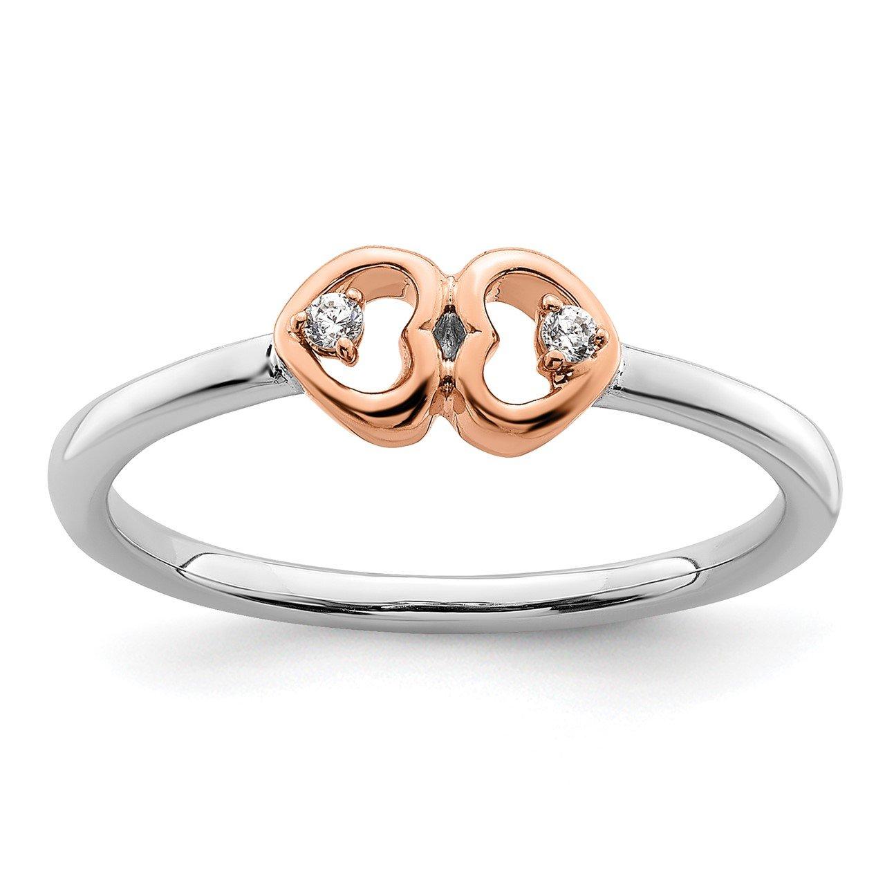 14ktt Lab Grown Diamond Si1/SI2, G H I, Hearts Promise Ring