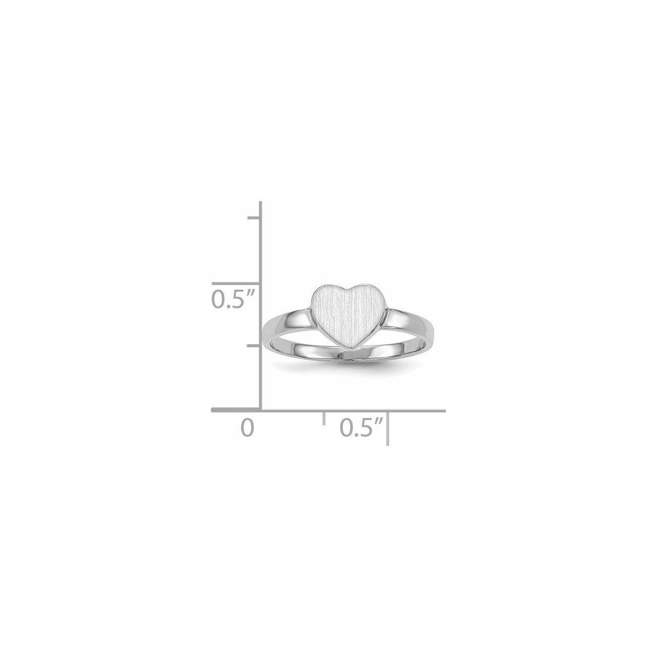 14k White Gold 7.0x7.5mm Open Back Heart Signet Ring-4