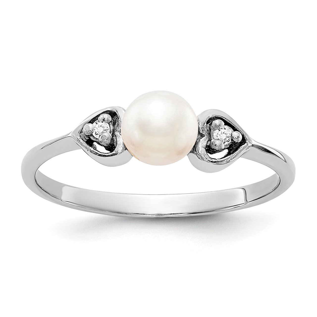 14k White Gold 4.5mm FW Cultured Pearl AA Diamond ring