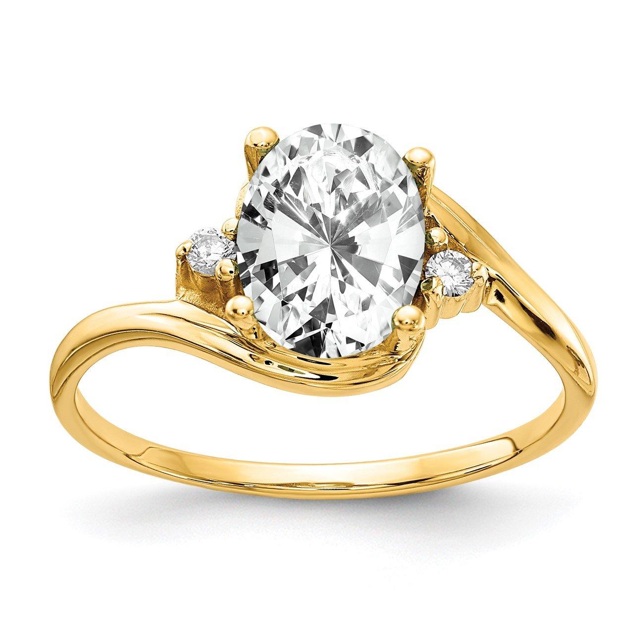 14k 8x6mm Oval Cubic Zirconia A Diamond Ring