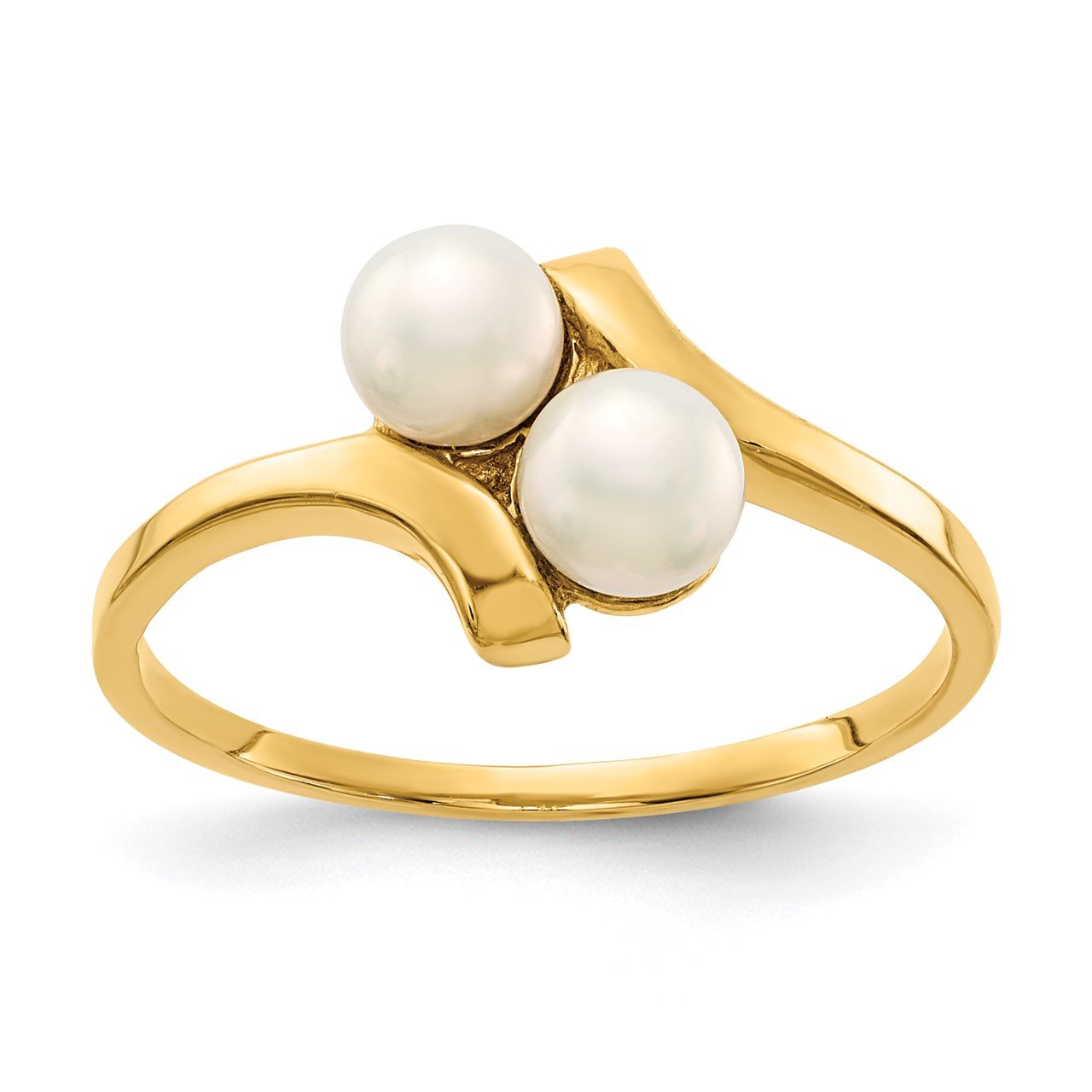 14K 4-5mm White Button Freshwater Cultured 2 Pearl Ring