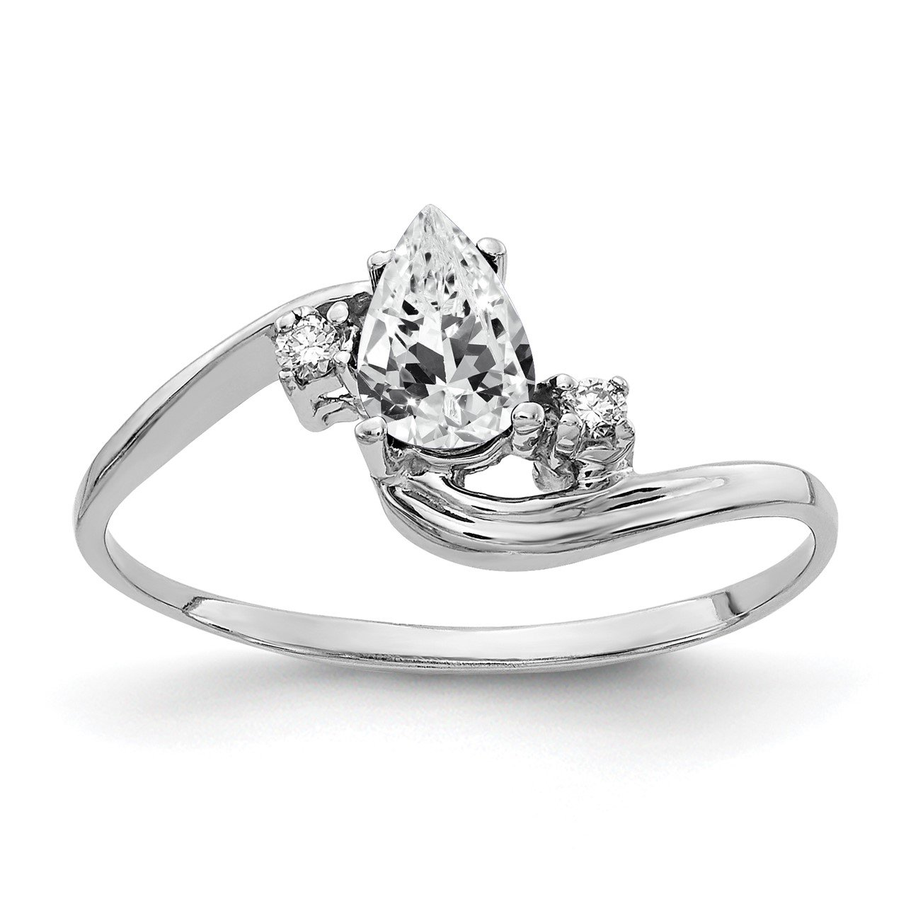 14k White Gold 6x4mm Pear Cubic Zirconia AAA Diamond ring