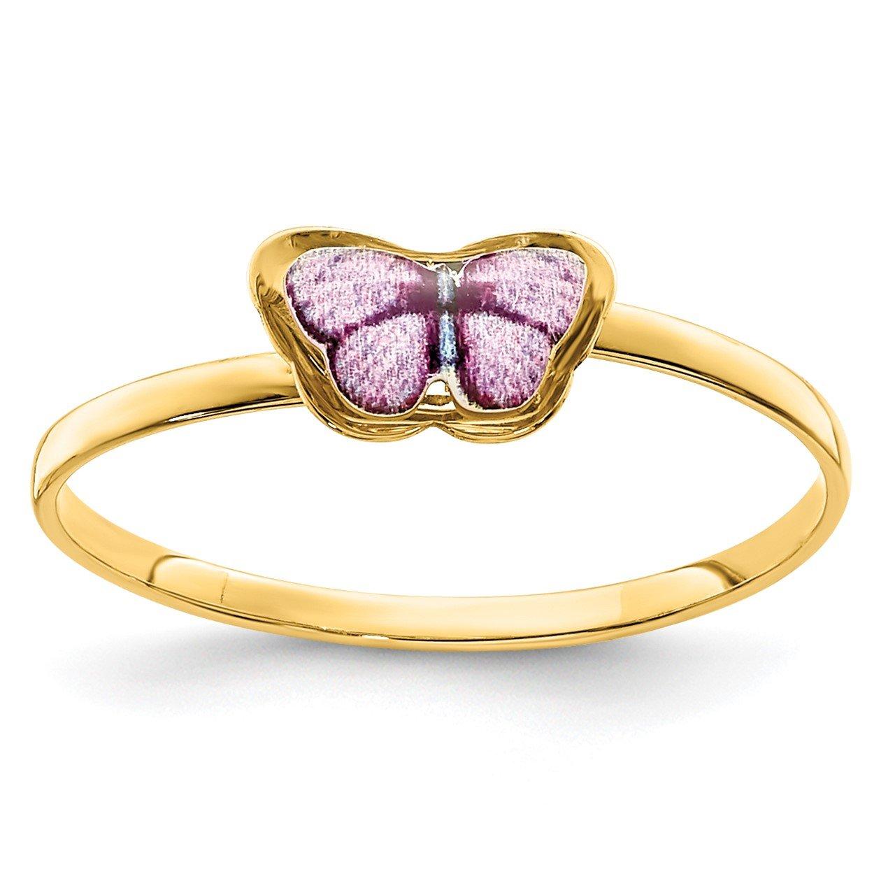 14K Enamel Butterfly Children's Ring
