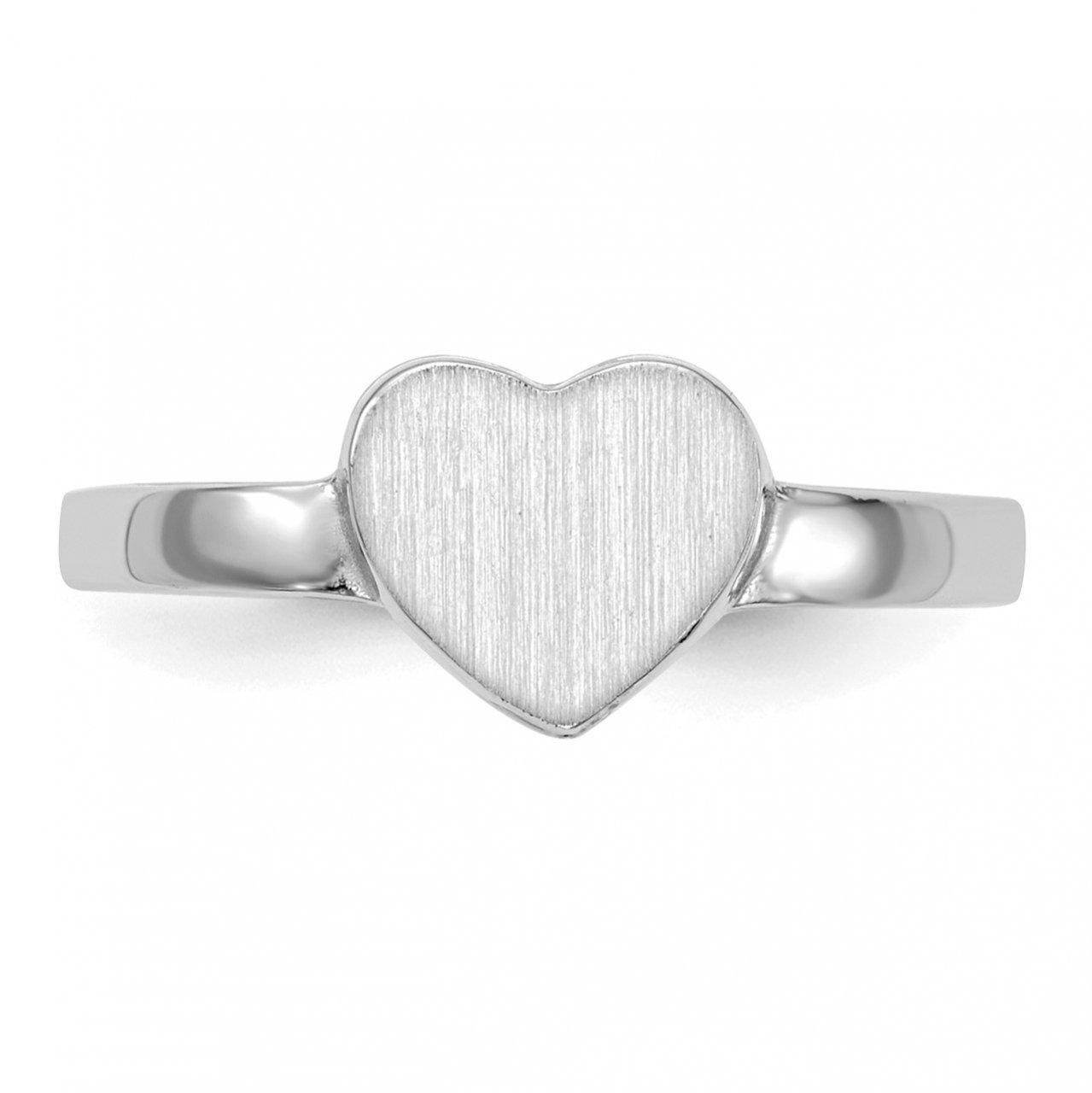 14k White Gold 7.0x7.5mm Open Back Heart Signet Ring-3