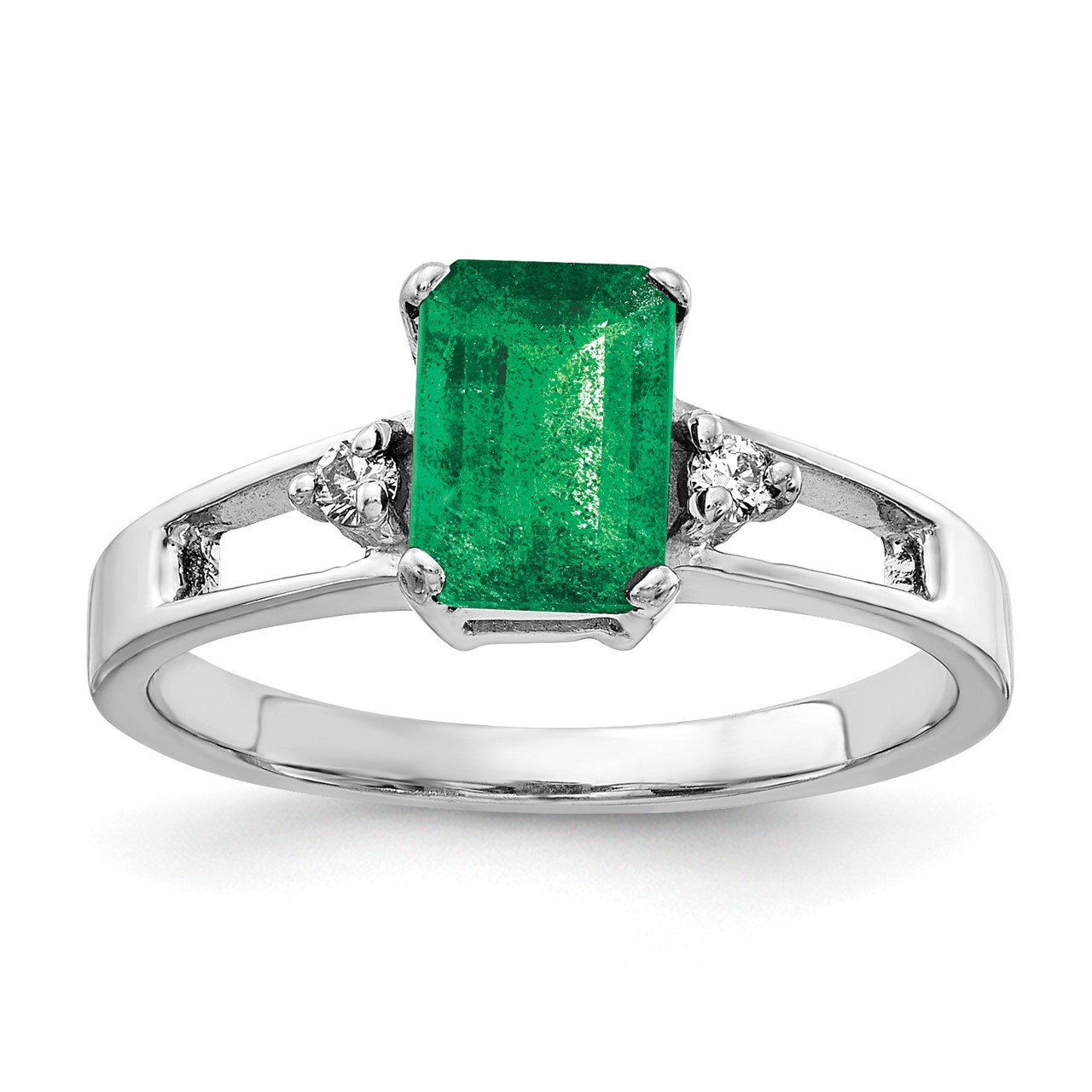 14k White Gold 7x5mm Emerald Cut Emerald AA Diamond ring