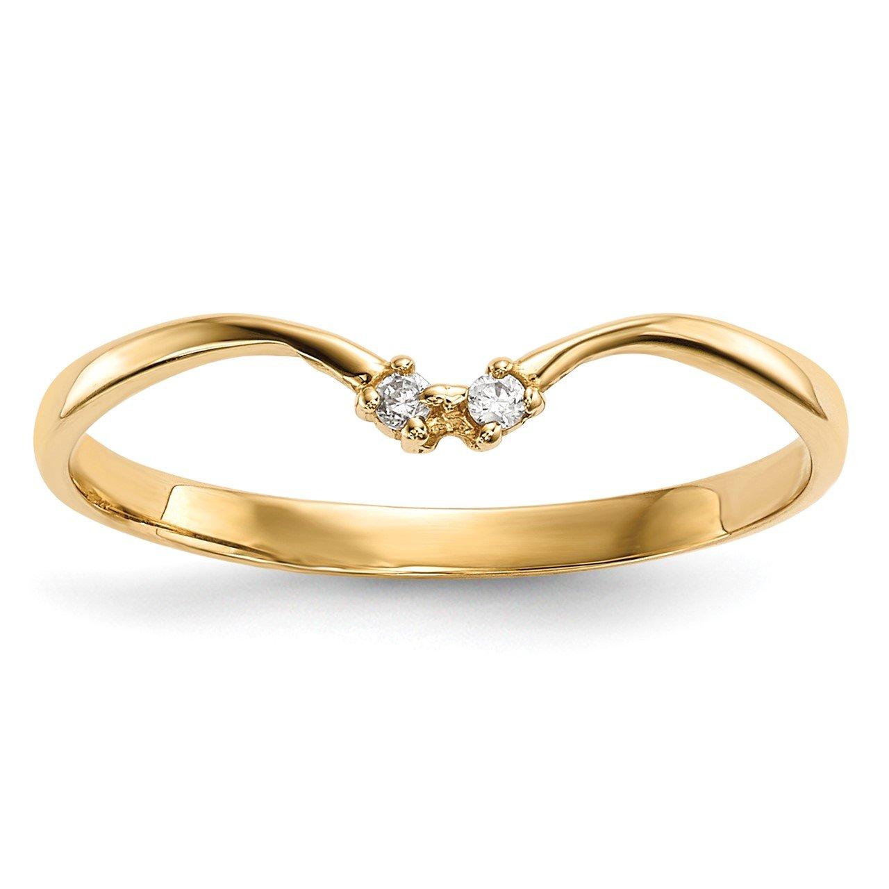14k 2-stone CZ Wrap Ring