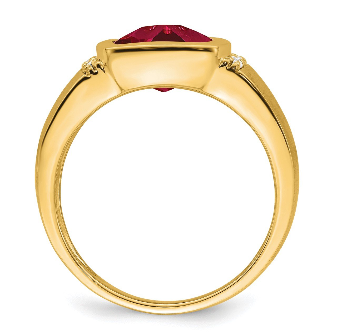 14k Created Ruby and Diamond Mens Ring-1