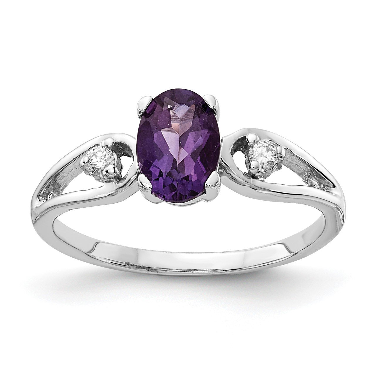 14k White Gold 7x5mm Oval Amethyst A Diamond ring