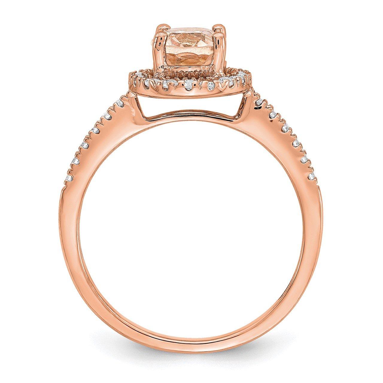 14k Rose Gold Morganite and Diamond Eng Ring-1