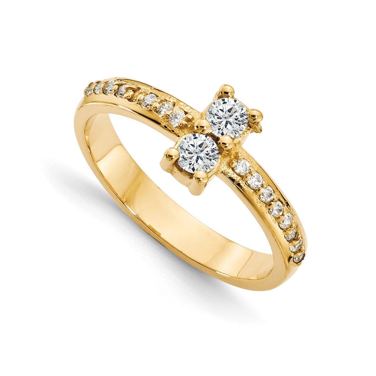 14ky AAA Diamond 2-stone Ring Semi-Mount - 4.8 mm center stones