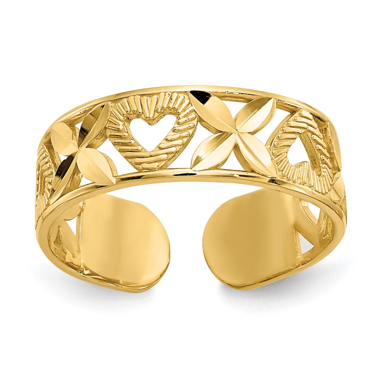 "14k Diamond-cut "" X"" and Heart Toe Ring"