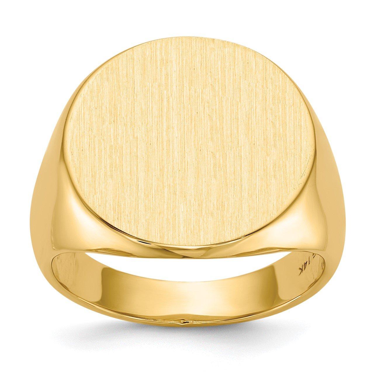 14k 17.5x18.0mm Closed Back Men's Signet Ring