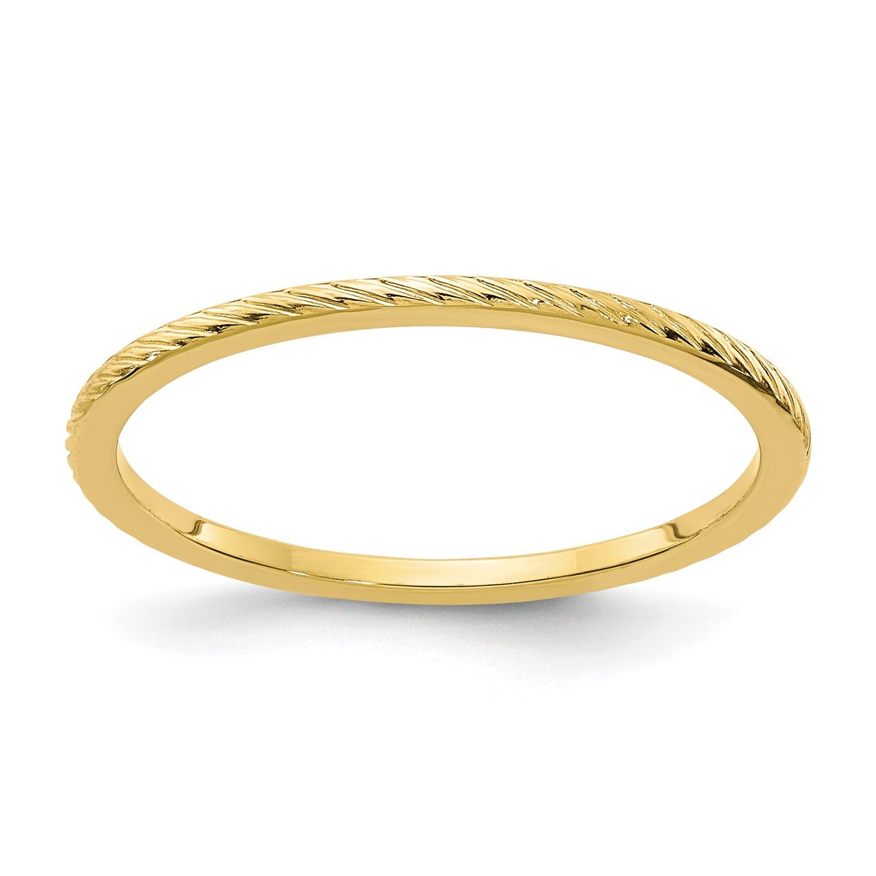 14K Gold 1.2mm Twisted Wire Pattern Stackable Band