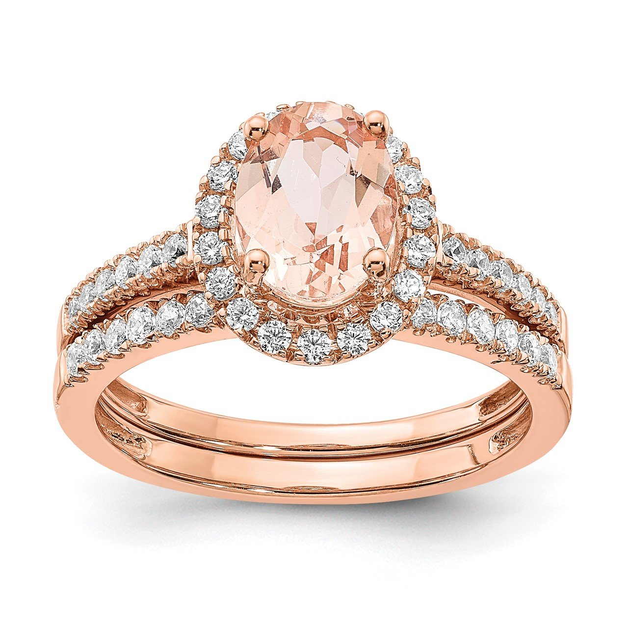 14k Rose Gold Morganite and Diamond Eng Ring-6
