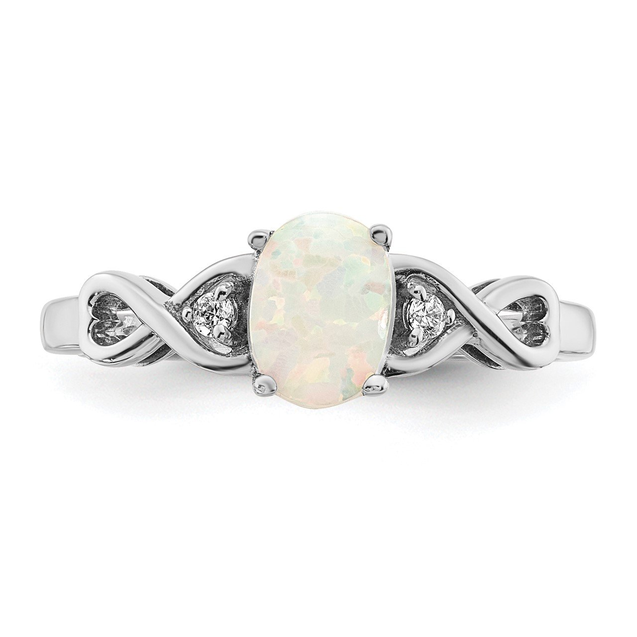 14k White Gold Created Opal and Diamond Ring-4