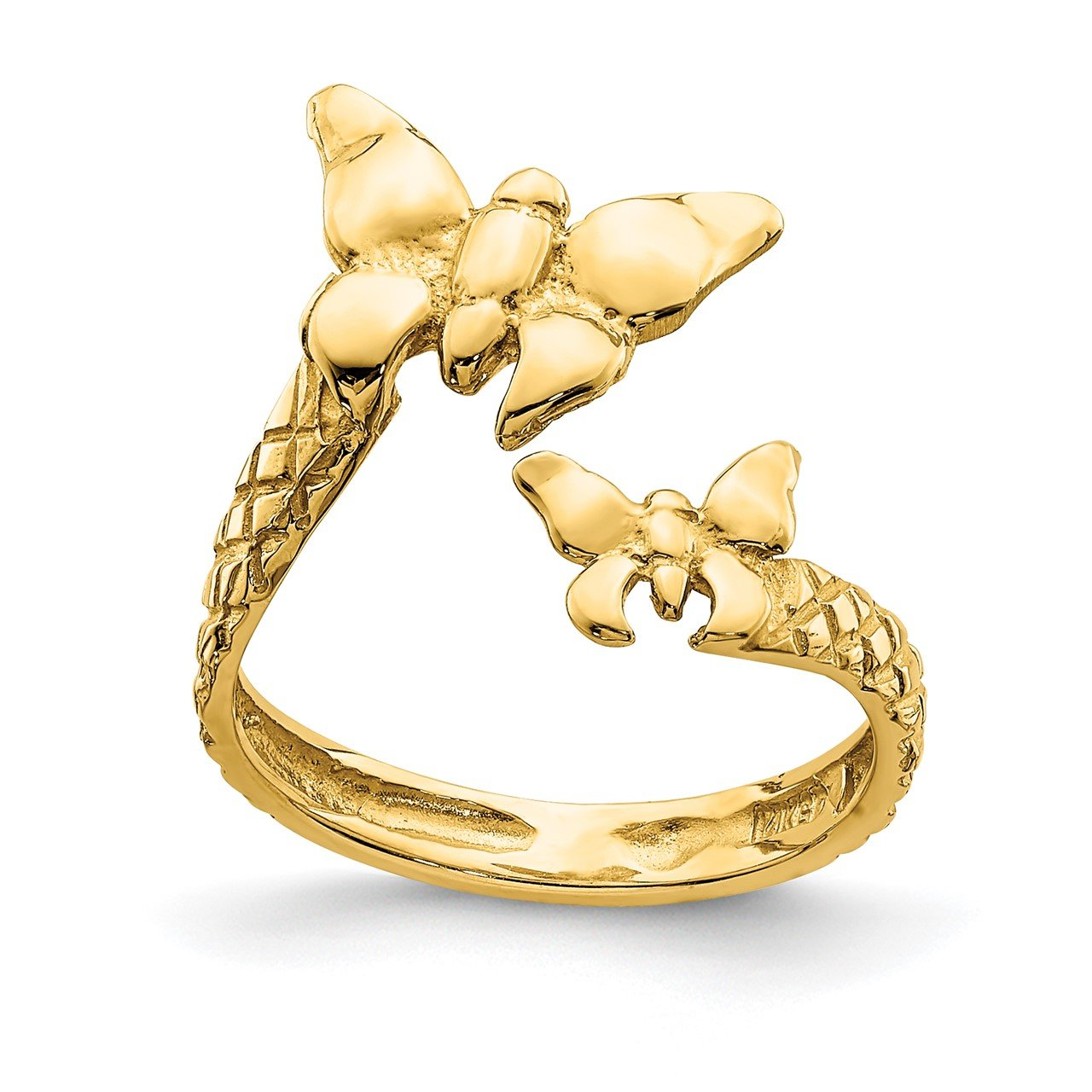 14K Polished and Textured Butterfly Toe Ring